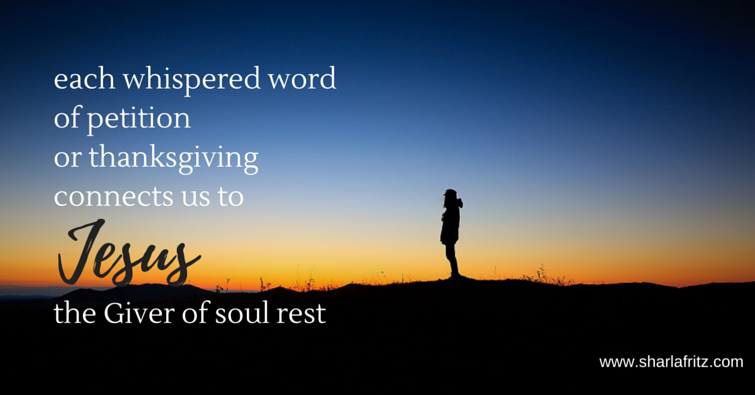 each whispered wordof petitionor thanksgivingconnects us tothe Giver of soul rest1