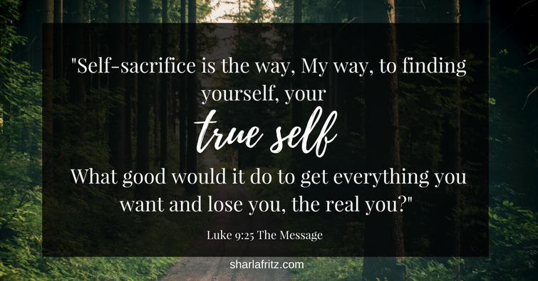 -Self-sacrifice is the way, my way, to finding yourself, your true self. What good would it do to get everything you want and lose you, the real you-- Luke 9-25 The Message